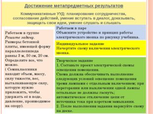 Достижение метапредметных результатов Коммуникативные УУД: планирование сотру