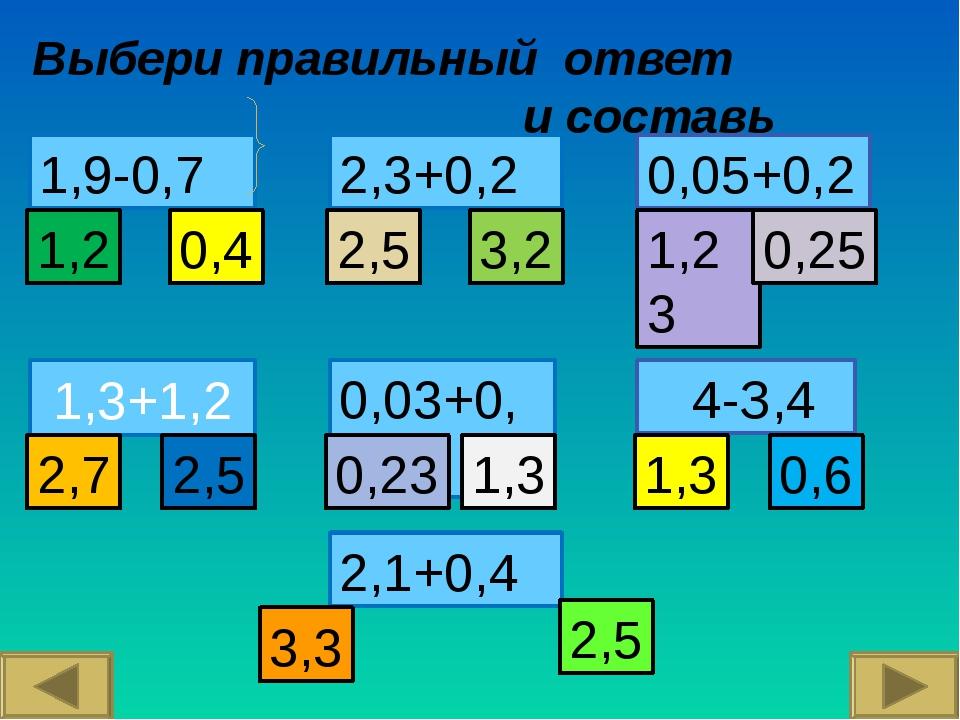 1,3+1,2 Выбери правильный ответ и составь слово 2,1+0,4 2,3+0,2 4-З,4 1,9-0,7...