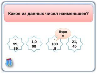 Какое из данных чисел наименьшее? -99,89 1,098 -100,8 21,45 Верно