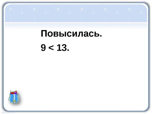 Повысилась. 9 < 13.