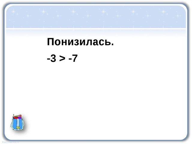 Понизилась. -3 > -7