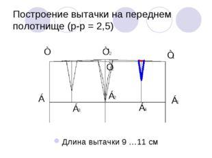 Построение вытачки на переднем полотнище (р-р = 2,5) Длина вытачки 9 …11 см