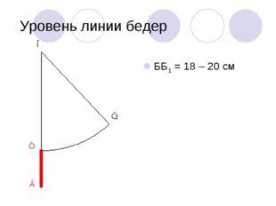 Уровень линии бедер ББ1 = 18 – 20 см