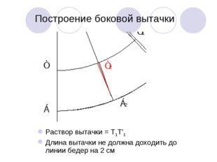 Построение боковой вытачки Раствор вытачки = Т1Т'1 Длина вытачки не должна до