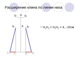 Расширение клина по линии низа Н1Н3 = Н2Н4 = 4…10см