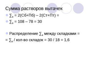 Сумма растворов вытачек ∑в = 2(Сб+Пб) – 2(Ст+Пт) = ∑в = 108 – 78 = 30 Распред
