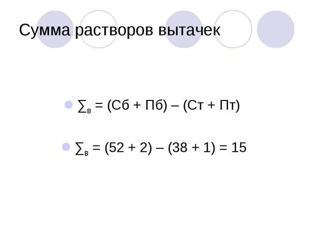 Сумма растворов вытачек ∑в = (Сб + Пб) – (Ст + Пт) ∑в = (52 + 2) – (38 + 1) =...