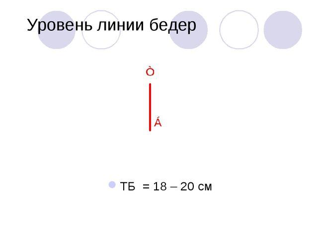 Уровень линии бедер ТБ = 18 – 20 см