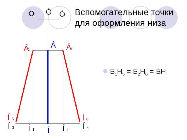 Вспомогательные точки для оформления низа Б1Н5 = Б2Н6 = БН