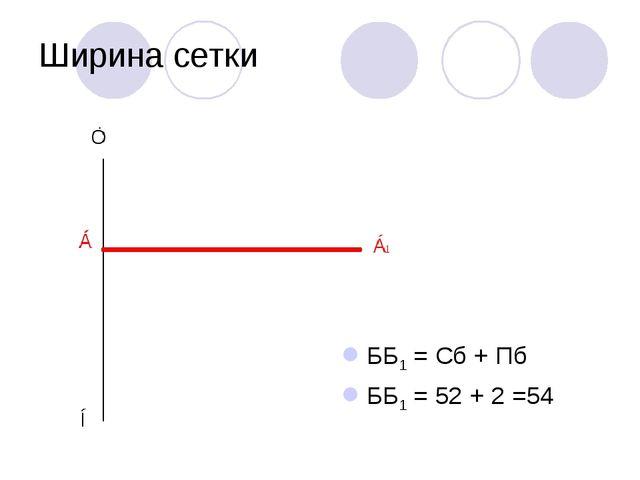 Ширина сетки ББ1 = Сб + Пб ББ1 = 52 + 2 =54