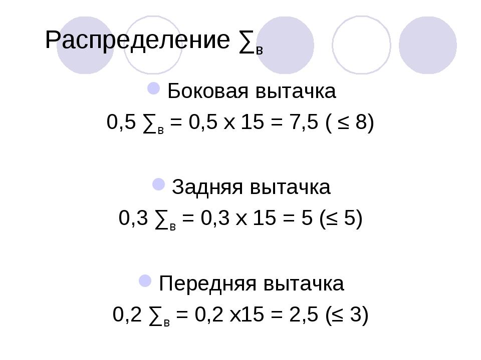 Распределение ∑в Боковая вытачка 0,5 ∑в = 0,5 х 15 = 7,5 ( ≤ 8) Задняя вытачк...