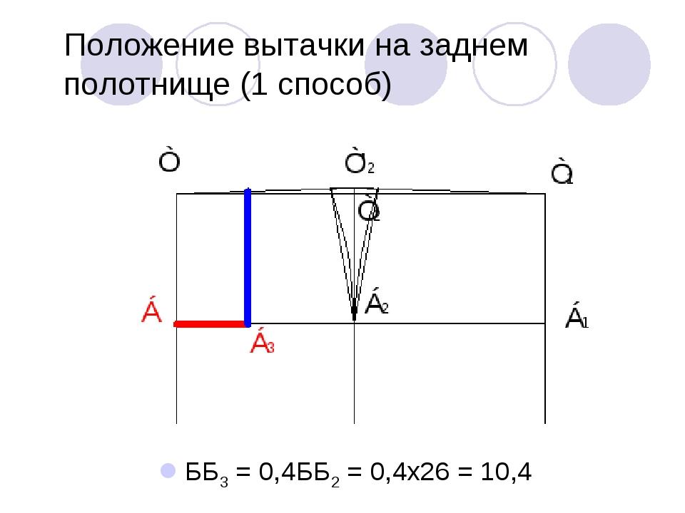 Положение вытачки на заднем полотнище (1 способ) ББ3 = 0,4ББ2 = 0,4х26 = 10,4