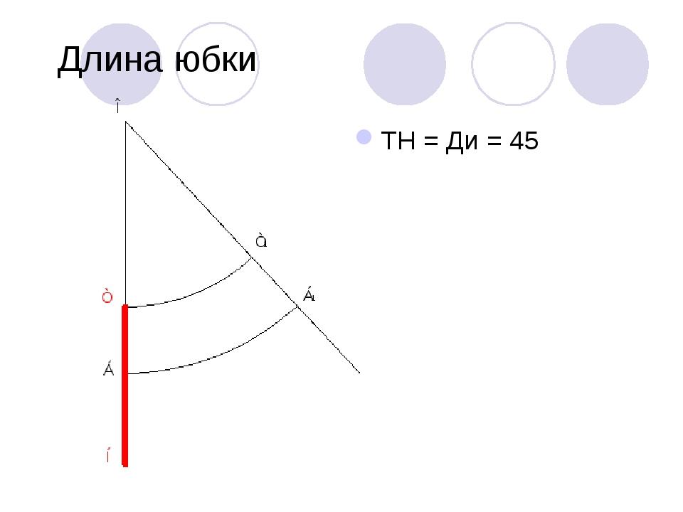 Длина юбки ТН = Ди = 45