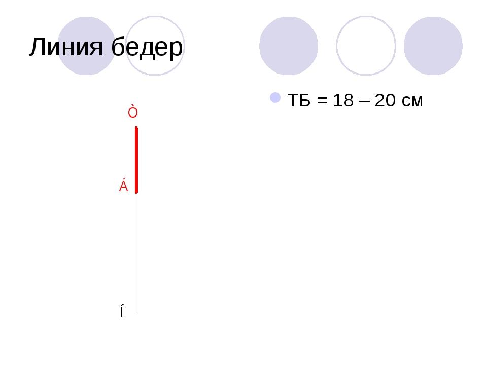 Линия бедер ТБ = 18 – 20 см