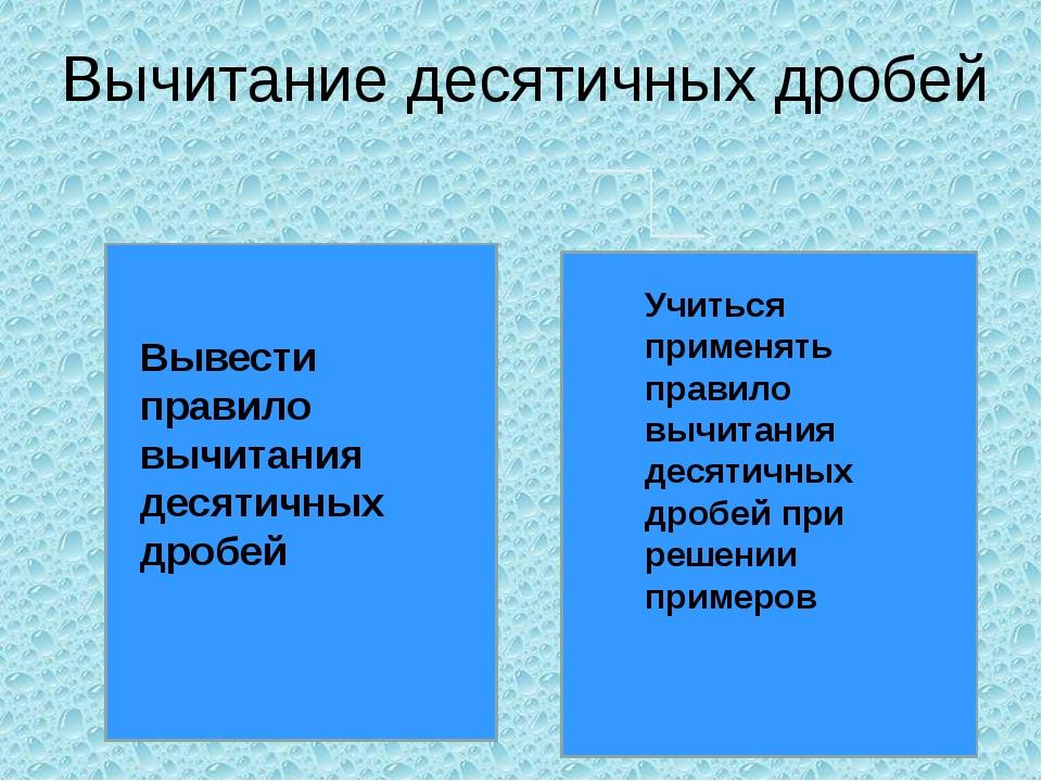 Вычитание десятичных дробей Вывести правило вычитания десятичных дробей Учить...