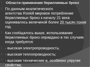 Области применения бериллиевых бронз По данным аналитического агентстваRos