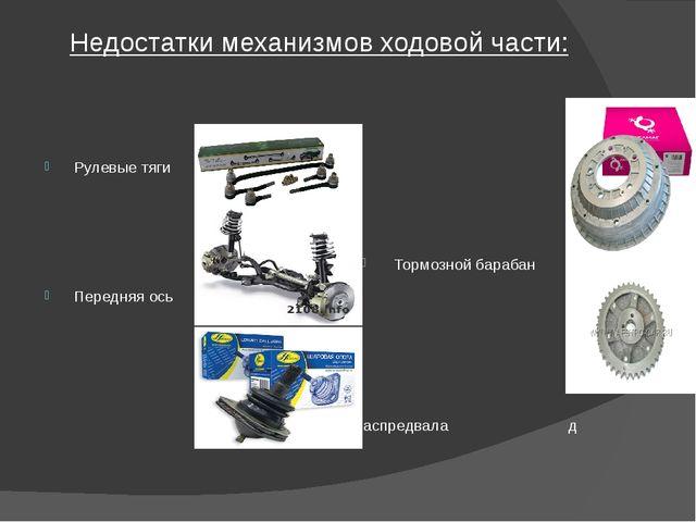 Недостатки механизмов ходовой части: Рулевые тяги Тормозной барабан попнропио...