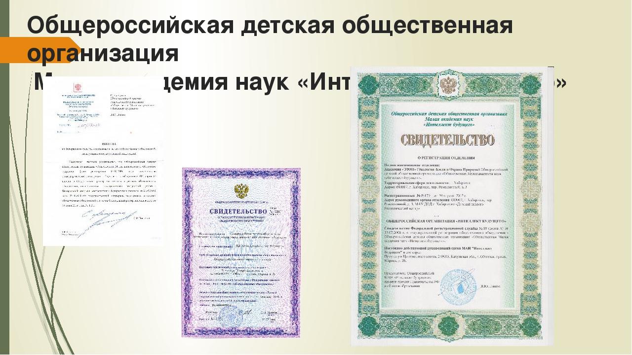 Общероссийская детская общественная организация Малая академия наук «Интеллек...