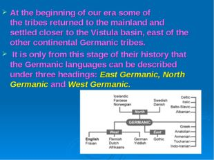 At the beginning of our era some of the tribes returned to the mainland and s