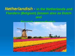 Netherlandish - in the Netherlands and Flanders (Belgium) (known also as Dutc