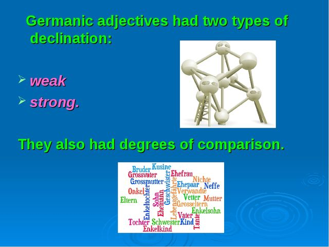 Germanic adjectives had two types of declination: weak strong. They also had...