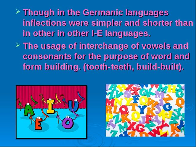 Though in the Germanic languages inflections were simpler and shorter than in...