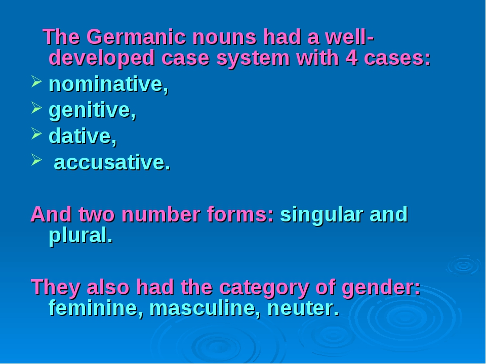 The Germanic nouns had a well-developed case system with 4 cases: nominative...