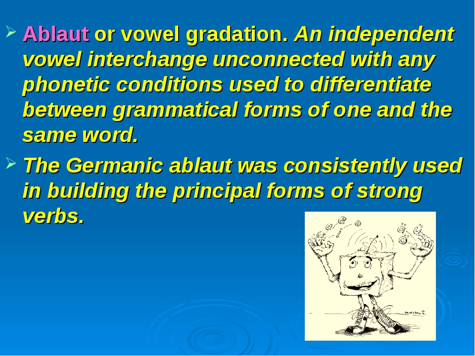 Ablaut or vowel gradation. An independent vowel interchange unconnected with...