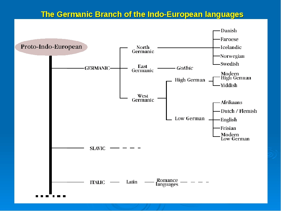 The Germanic Branch of the Indo-European languages