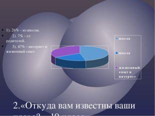 2.«Откуда вам известны ваши права?». 10 класс. 1). 26% - из школы. 2). 7% - о
