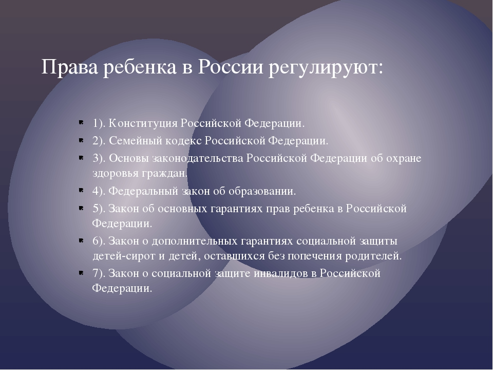1). Конституция Российской Федерации. 2). Семейный кодекс Российской Федераци...