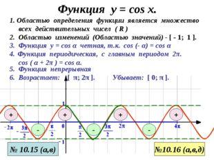 Функция у = соs x. 3. Функция у = cos α четная, т.к. cos (- α) = cos α 1. Обл