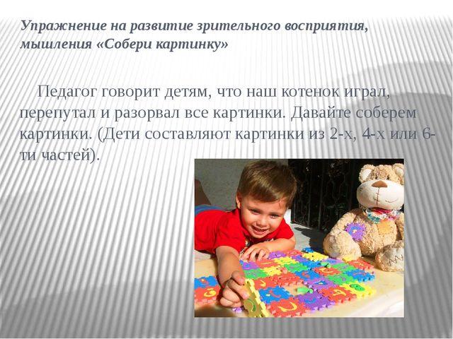 Упражнение на развитие зрительного восприятия, мышления «Собери картинку» Пед...