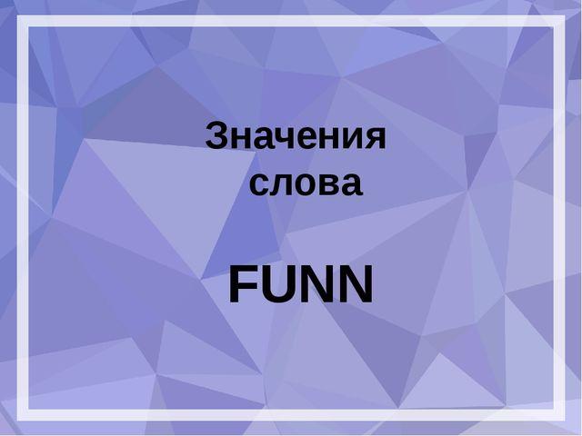 Значения слова FUNN