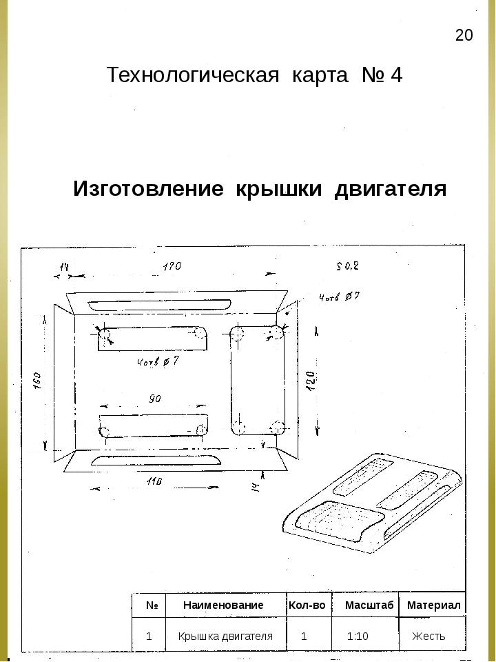 Изготовление крышки двигателя № Наименование Кол-во Масштаб Материал 1 Крышка...