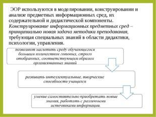 ЭОР используются в моделировании, конструировании и анализе предметных инфор