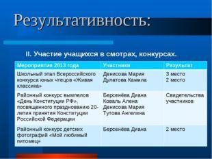 Результативность: II. Участие учащихся в смотрах, конкурсах. Мероприятия 2013