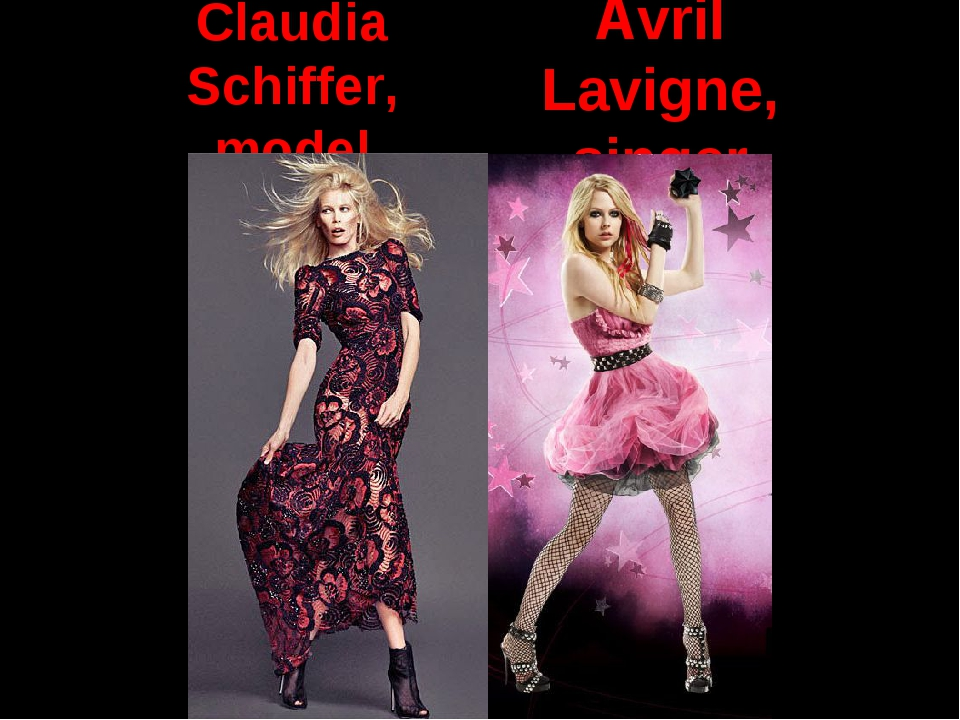 Avril Lavigne, singer Claudia Schiffer, model
