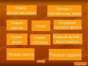 Новая мода Новая столица Новое летоисчисление Создание русского флота Новые ш