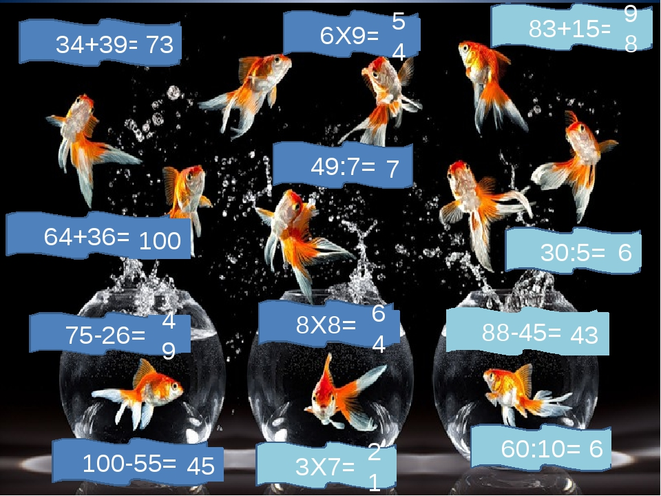 83+15= 100-55= 88-45= 75-26= 6Х9= 8Х8= 3Х7= 34+39= 30:5= 49:7= 60:10= 64+36=...
