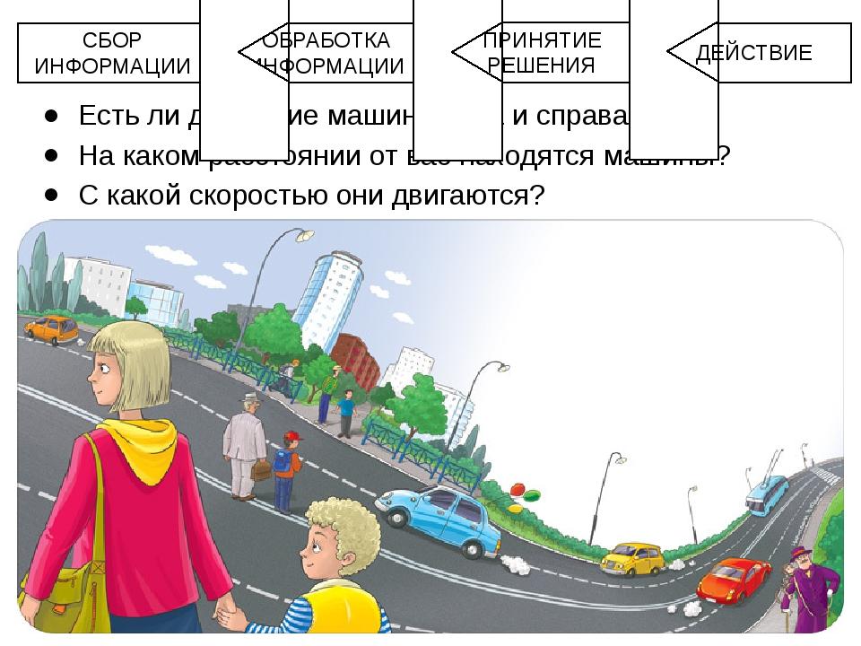 Есть ли движение машин слева и справа? На каком расстоянии от вас находятся м...