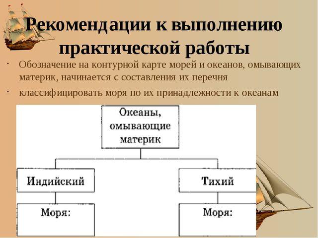 Рекомендации к выполнению практической работы Обозначение на контурной карте...