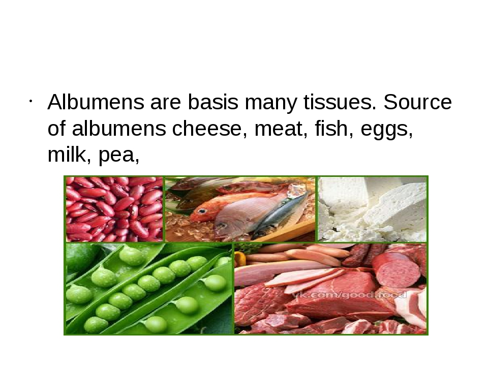 Albumens are basis many tissues. Source of albumens cheese, meat, fish, eggs...