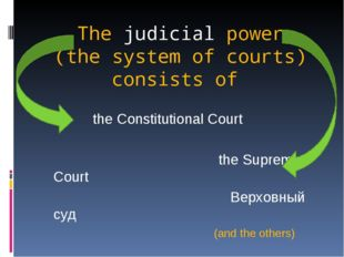 The judicial power (the system of courts) consists of the Constitutional Cour
