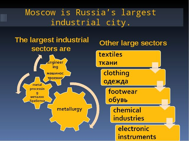 Moscow is Russia's largest industrial city. The largest industrial sectors ar...