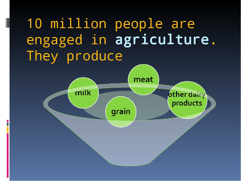 10 million people are engaged in agriculture. They produce