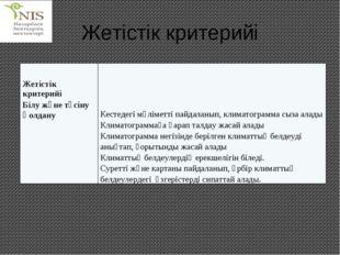 Жетістік критерийі Жетістік критерийі Білу және түсіну ҚолдануКестедегі мәлі