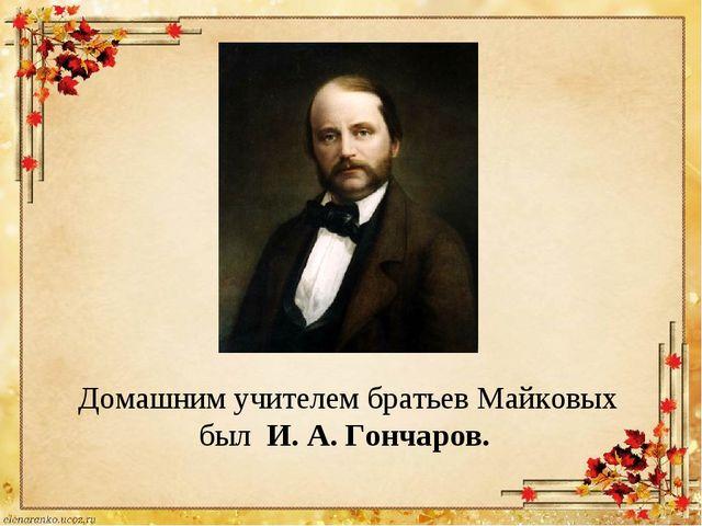 Домашним учителем братьев Майковых был И. А. Гончаров.