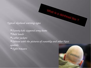 What is a skinhead like ? Typical skinhead warning signs Twenty hole zippered