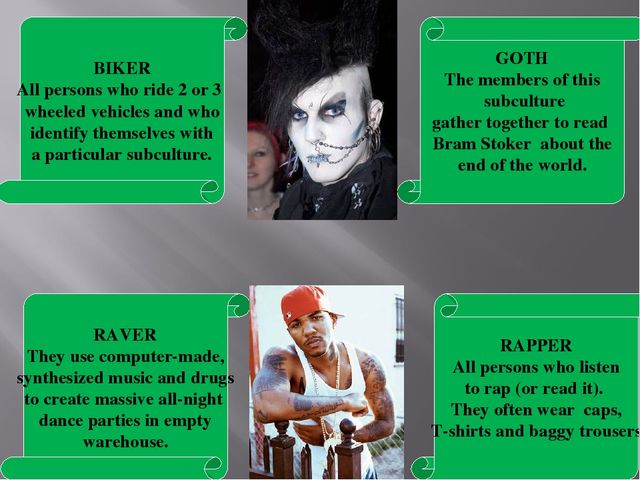 GOTH The members of this subculture gather together to read Bram Stoker about...